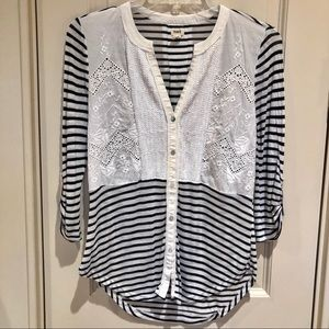 Anthropologie    Tiny Sequined Striped Henley Top